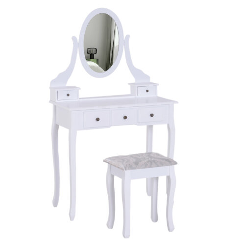 HOMCOM Dressing Table Set Contemporary Adjustable Mirror Wooden Stool 5 Drawers