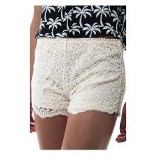 Cream Daisy Print Lace Shorts