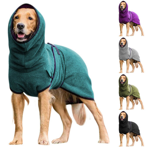 Pet Clothes Dog Hoodie Towelling Drying Robe Soft Sleepwear Coat Warm Apparel