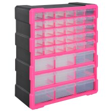DURHAND 39 Drawers Parts Organiser Wall Mount Tools Storage Cabinet Clear