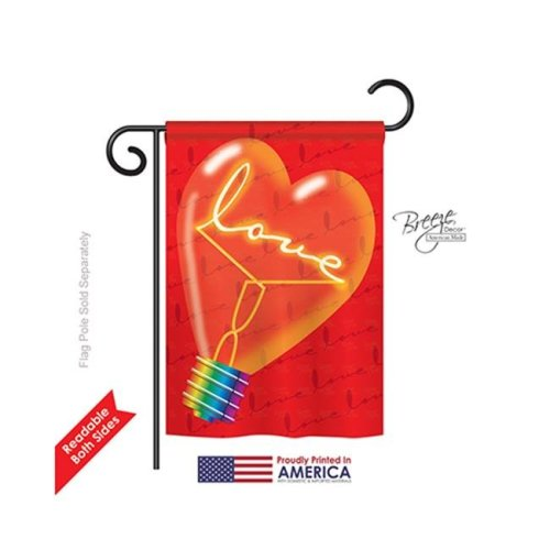 Breeze Decor 51049 Valentines Love Light Bulb 2-Sided Impression Garden Flag - 13 x 18.5 in.