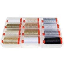 Aurifil Thread THE BASIcS cOLLEcTION by Mark Lipinski 50wt cotton 12 Large Spools 1300m each
