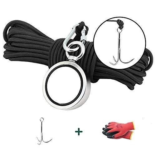 Ant Mag Fishing Magnet Double Sided 270KG (600LBS) with Large Hook and 20M (65FT) Rope and Gloves Magnet Fishing Kit for Treasure Hunting Underwater