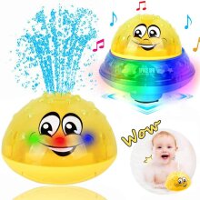 Bath Toys, 2 in 1 Induction Water Spray Toy & Space UFO Car Toys with LED Light Musical Fountain Toy Automatic Induction Sprinkler Bath Toy