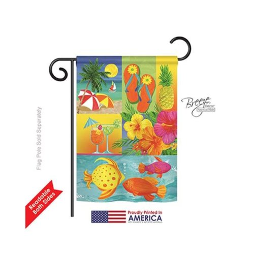 Breeze Decor 56067 Summer Tropical Collage 2-Sided Impression Garden Flag - 13 x 18.5 in.