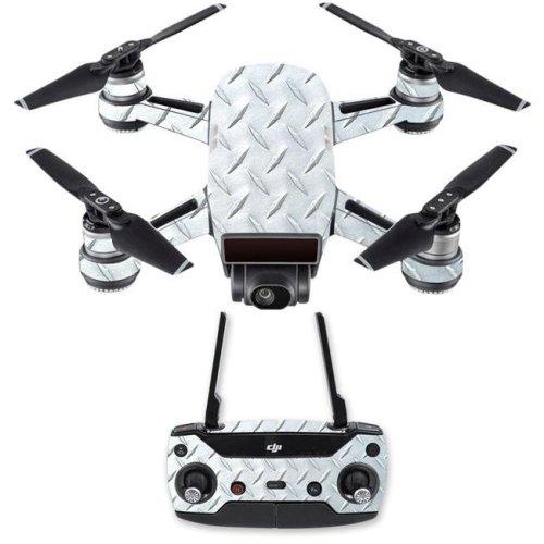 Mightyskins DJSPCMB-Diamond Plate Skin Decal for DJI Spark Mini Drone Combo - Diamond Plate