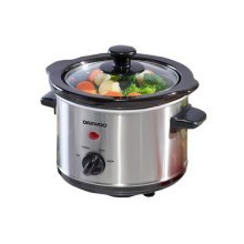 Daewoo 1.5L Brushed Silver Stainless Steel Ceramic Slow Cooker