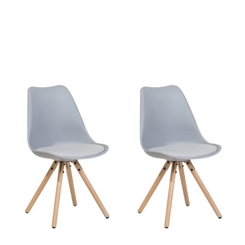 Set of 2 Dining Chairs Grey DAKOTA