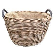 Large Oval Hessian Lined Log Basket
