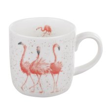 Wrendale by Royal Worcester Mug-Pink Ladies (Flamingos), Bone China, Multi Colour, 19 x 12 x 8 cm
