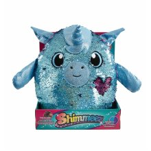 Shimmeez Yaffa The Unicorn, a Sparkling Sequin Soft Plush Toy, Reversible Sequins Go From Blue to Silver, Large Size
