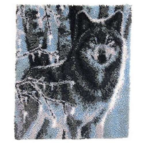 """Latch Hook Rug Kit""""Winter Forest Wolf"""" 110x90cm"""