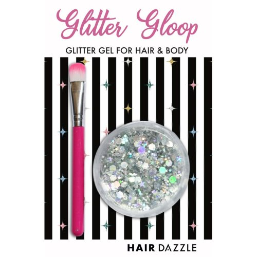 Glitter Gloop Chunky Glitter Gel for Hair, Face, Body - Holographic Silver - Vegan, Cruelty Free, Mess Free - Includes Applicator Brush
