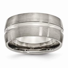 Bridal TB52-8.5 10 mm Titanium Grooved Brushed & Polished Band - Size 8.5