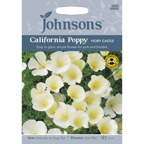 Johnsons Seeds - Pictorial Pack - Flower - California Poppy Ivory Castle - 300 Seeds