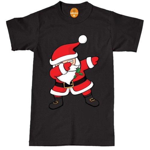 (S, BLACK) Santa Claus Dancing Dabbing Christmas T-shirt