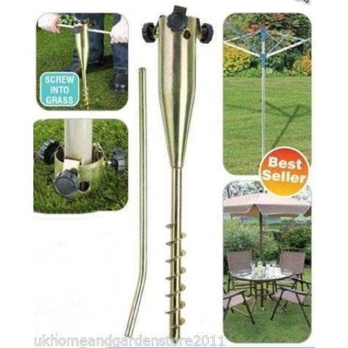 Umbrella Stand Ground Spike Screw Steel Heavy Duty Garden Parasol Base Holder