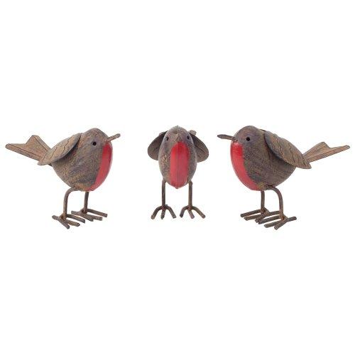 Set of 3 Rusty Tin Metal Robin Bird Garden or Home Ornaments