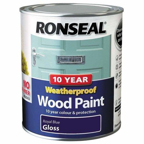 (Royal Blue Gloss) Ronseal Weatherproof No Primer Exterior Wood Paint 750ml