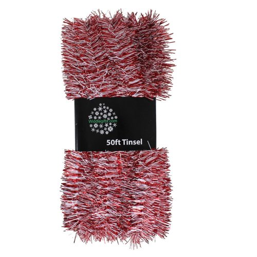 Red /& Green Christmas Tree 50ft x 3cm Tinsel GREAT VALUE