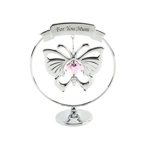 Crystocraft Keepsake Gift Ornament - For You Mum Pink Butterfly with Swarvoski Crystal Elements by Widdop Bingham