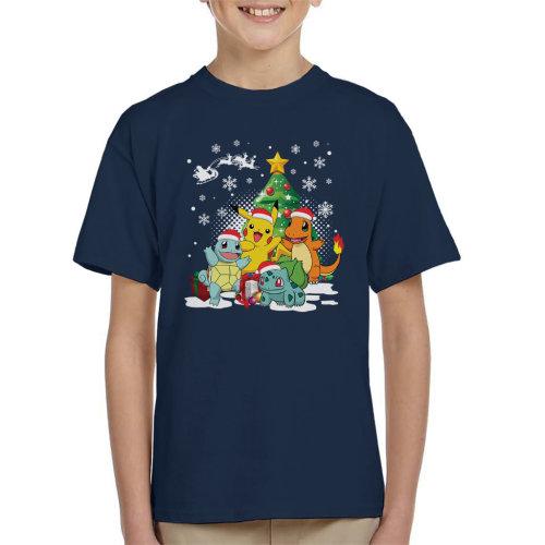 (Large (9-11 yrs)) Pokemon Under The Christmas Tree Kid's T-Shirt