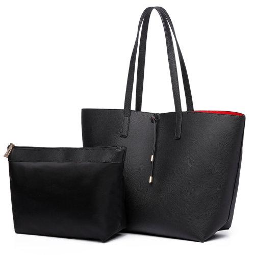 (Black 6628) Miss Lulu Reversible Faux Leather Handbag & Pouch