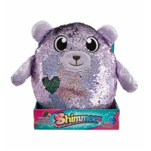 Shimmeez Beji The Bear, a Sparkling Sequin Soft Plush toy, Reversible Sequins Go from Purple to Silver, Large Size