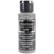 Americana Multi-Surface Satin Acrylic Paint 2oz-Steel Grey