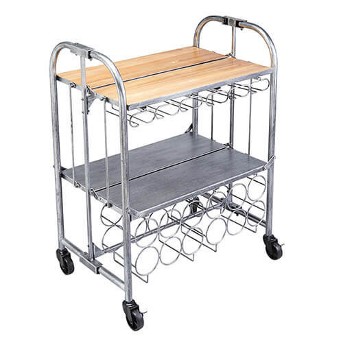 "KitchenCraft BarCraft Folding Vintage-Style Home Bar Drinks Trolley, 71 x 46 x 94 cm (28"" x 18"" x 36.5"")"