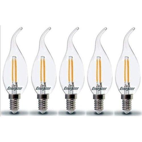 5x Energizer E14 SES Candle LED Light Bulb 470lm Opal 5.9W=40W Warm White 2700k