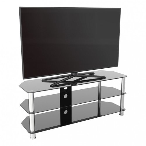 """King Glass TV Stand 125cm, Chrome Legs, Black Glass, Cable Management, for TVs up to 60"""""""