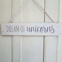 Dream of Unicorns  Chic n Shabby Wall Plaque Girls Bedroom