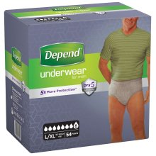 Depend Underwear Absorbent Absorption Super Size L/XL Man–54Units