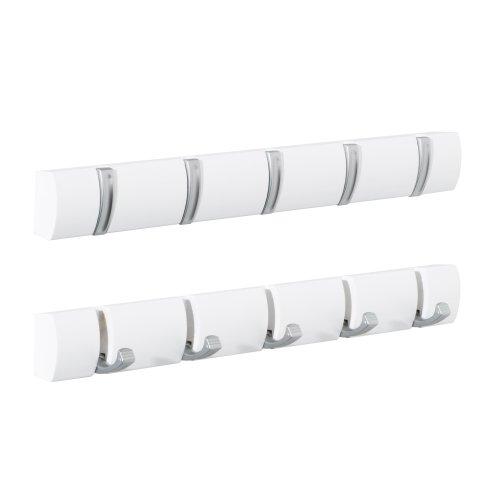 5pc Concealed Coat Hook Board   White Folding Hook Rack