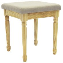 STRAND - Solid Wood Dressing Table Stool with Padded Seat - Pine / Warm Grey