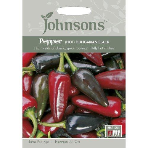 Johnsons Seeds - Pictorial Pack - Vegetable - Pepper (Hot) Hungarian Black - 20 Seeds