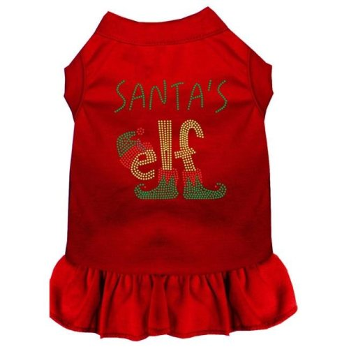 Mirage Pet 57-66 RDXXXL 20 in. Santas ELF Rhinestone Dog Dress, Red - 3XL