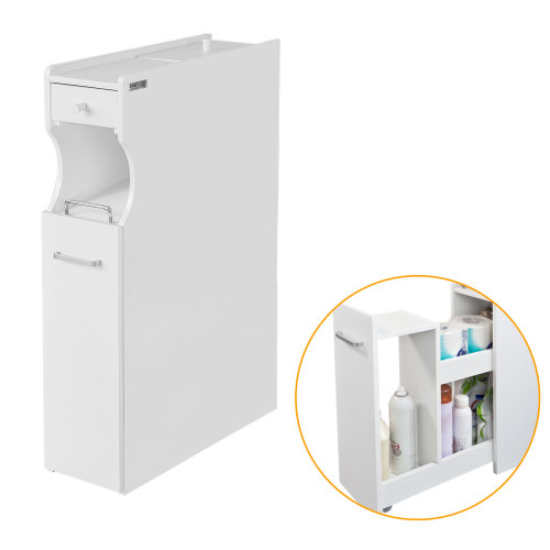 Free Standing Toilet Paper Roll Holder Bathroom Storage Cabinet 80cm High White