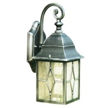 Aluminium Outdoor Wall Light With Leaded Glass
