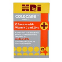 HRI Coldcare Echinacea with Vitamin C and Zinc Cold and Flu Remedy - 30 Tablets