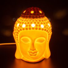 15cm Ceramic Thai Buddha Head Electric Scented Wax Melts Burner