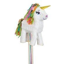 White Unicorn Pull String Pinata -