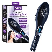 Bauer Professional Hair Care Ceramic Heated Hair Straightening Brush, Black