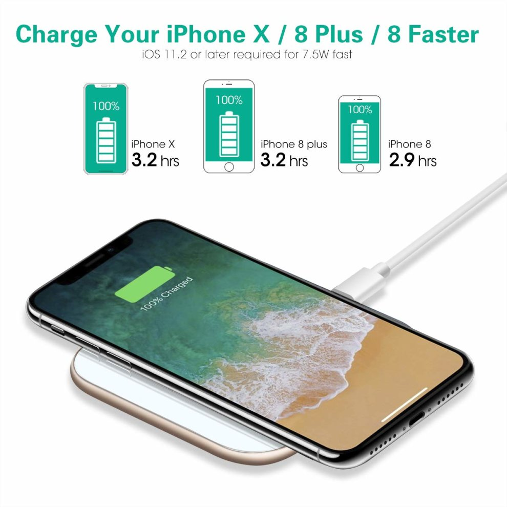 Te Rich 15W Wireless Charger [USB C, Ultra Slim] 7.5W Qi Charger for iPhone X 8 Plus 8, 10W Fast Charging Pad for Samsung Galaxy S9 S9 Plus S8 S7