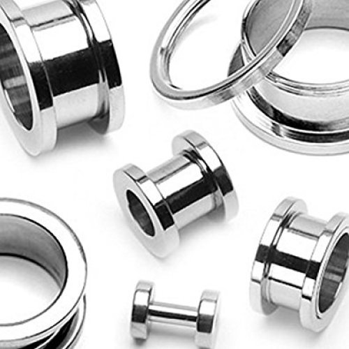 (8MM) Surgical Steel Screw Fit Hollow Ear Tunnel Saddle Plug Piercing Finest Quality Materials