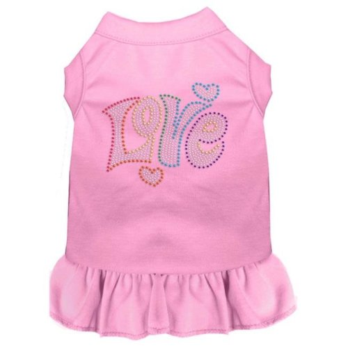 Mirage Pet 57-61 XXXLLPK Technicolor Love Rhinestone Pet Dress, Light Pink - 3XL