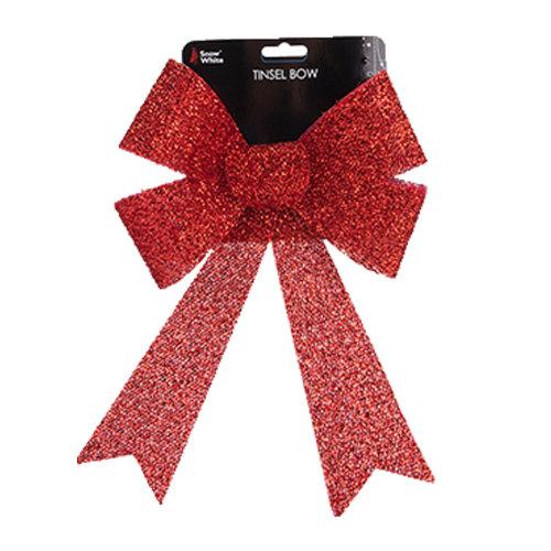 Christmas Tinsel Bow Tree Decoration - Red 22cm x 32cm