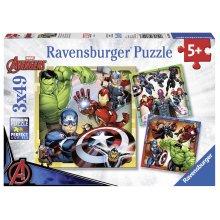 Ravensburger Marvel Avengers Assemble, 3x 49pc Jigsaw Puzzles