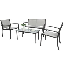 4 seater Living Room Sofa Sets, Metal Frame with coffee table Grey